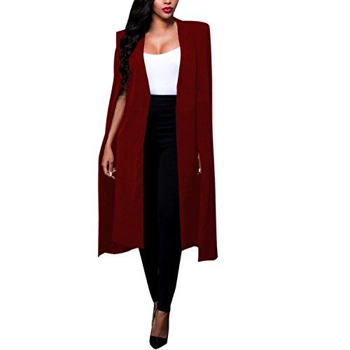 Manteau Femme Costume Capuchon Bordeaux Veste LAEMILIA Blazer Cape Longue Og7cwd