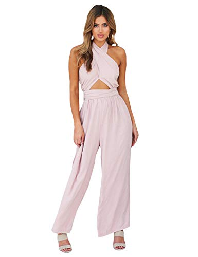 Itemnew Women's Criss Cross Halter Backless Cut Out Bow Knot Wide Leg Pant Jumpsuit Rompers (Large, Pink)