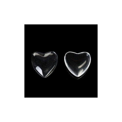Packet of 5 x Clear Glass 20mm Heart-Shaped Flat-Backed Cabochon - (Y08355) - Charming Beads - Flat Backed Heart