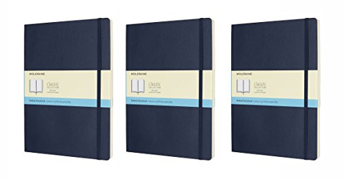 Pack of 3 Moleskine Classic Notebook, Extra Large, DOT, Sapphire Blue, Soft Cover (7.5 x 10) (Classic - Dot Sapphire