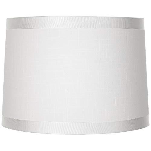 White Fabric Drum Shade 13x14x10 (Spider) - Brentwood (Drum White Lamp Shade)