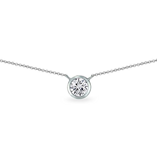 (Sterling Silver Cubic Zirconia 6mm Round Solitaire Bezel-Set Dainty Choker Necklace for Women Teen Girls)