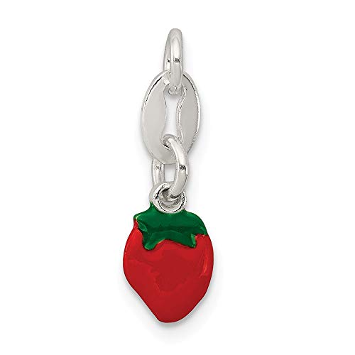 925 Sterling Silver Enameled Strawberry Charm ()