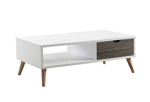 HOMES: Inside + Out Katalena Modern Mid-Century Two-Tone Coffee Table, Gray/White