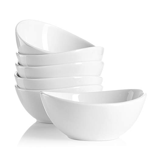 Porcelain Footed Bowl - Sweese 1106 Porcelain Bowls - 10 Ounce for Ice Cream Dessert, Small Side Dishes - Set of 6, White