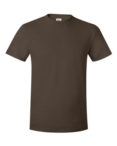 Hanes mens 4.5 oz. 100% Ringspun Cotton nano-T T-Shirt(4980)-Dark Chocolate-S-2PK