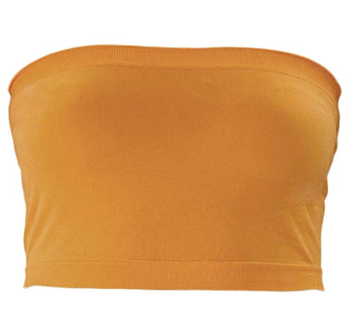 KMystic Stretch Seamless Tube Bra Bandeau Top (One Size, Mustard)