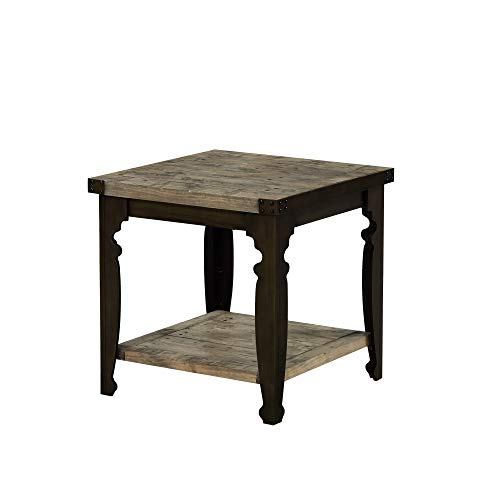 (Verona Square End Table in Natural Pine with Plank Style Top And Open Shelf, by Artum Hill)