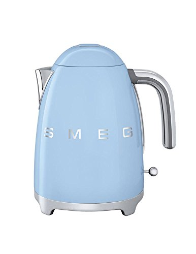 Smeg KLF03PBUS 50's Retro Style Aesthetic Electric Kettle with Embossed Logo, Pastel Blue