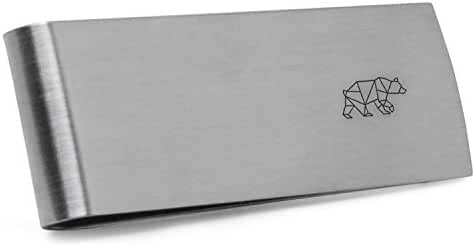 Geometric Bear Money Clip   Stainless Steel Money Clip Laser Engraved In The USA.