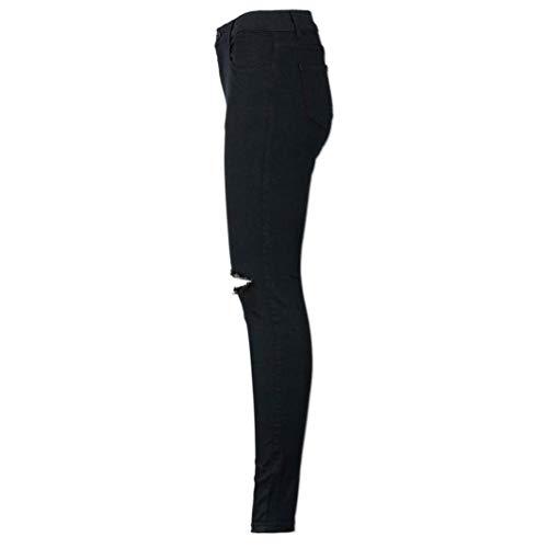 Biran Taille Femme Nouveau Mode Longues Pantalon En Black Genou Au Breal Haute Sexy Maigre Mince Jeans Découpés Denim Crayon Casual Tranches EH2WDI9Y