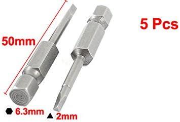 uxcell 三角ドライバービット 5個 6.3mmの六角シャンク 2mmのヒントサイズ 磁気