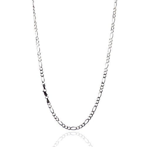 925 Sterling Silver 3.80 mm Beveled Diamond-Cut Figaro Chain Necklace with Lobster Clasp-RHODIUM FINISH (Diamond Cut Figaro Chain Necklace)