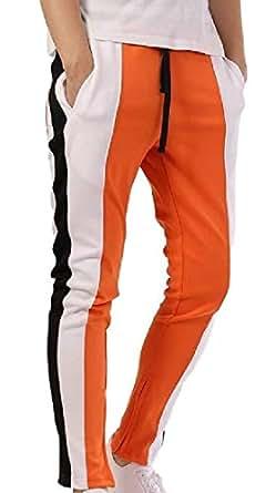 Men Stripe Track Pants Skinny Fit Harem Trouser Elastic Jogger 1 L