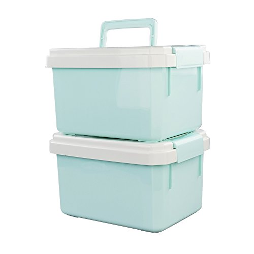 ggbin 12 quart plastic storage box with handle blind portable pack of 2 greenf