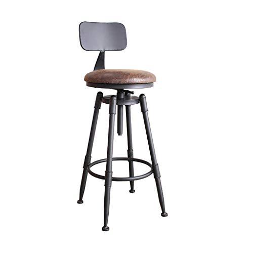 Furniture stool / Retro Industrial taburete de la barra con la parte posterior de madera maciza y metal Mostrador Altura ajustable giratoria Banqueta altura, de hierro fundido de heces, heces rustico,