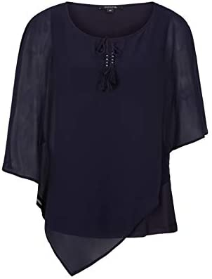 Comma damska bluzka krepowana z asymetrycznym krojem, kolor: atrament , rozmiar: 36: Odzież