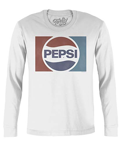 Tee Luv Pepsi T-Shirt - Classic Pepsi Cola Long Sleeve T-Shirt (Medium)  White