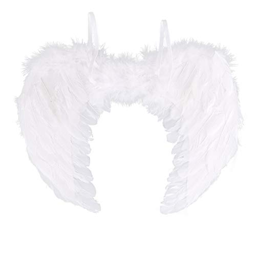 FEESHOW Angel Feather Wings for Party Cosplay Christmas Carol Costume Accessory White 6045cm