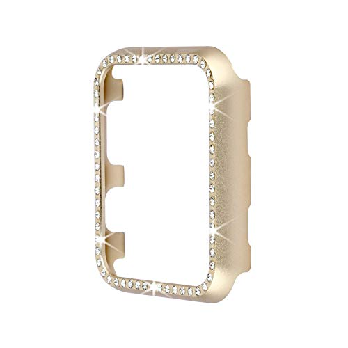 Aluminum Metal Watch Case with Crystal Diamonds Plate Protective Cover Ultra Thin Bumper for Watch Series 1/2/3?Best 3D Bling Gift for Your iWatch) (Gold Bling, 38 mm)