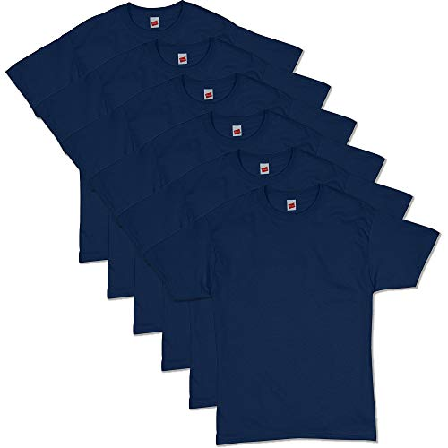 Hanes Men's ComfortSoft Short Sleeve T-Shirt (6 Pack), Navy, Large ()