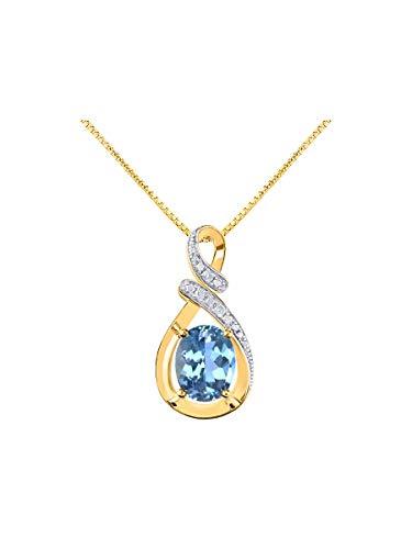 - RYLOS Simply Elegant Beautiful Blue Topaz & Diamond Pendant/Necklace - December Birthstone