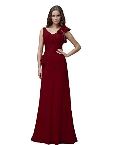 Kivary Women's V Neck Long A Line Prom Dresses Burgundy US 8