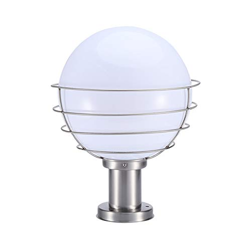 Outdoor Mount Park Post (Modenny Stainless Steel Spherical LED Column Lights Outdoor Waterproof Community Apartment Lanterns Pillar Lamp Post Terrace Park Fence Landscape Streetlights Lighting (Size : Height: 40cm))