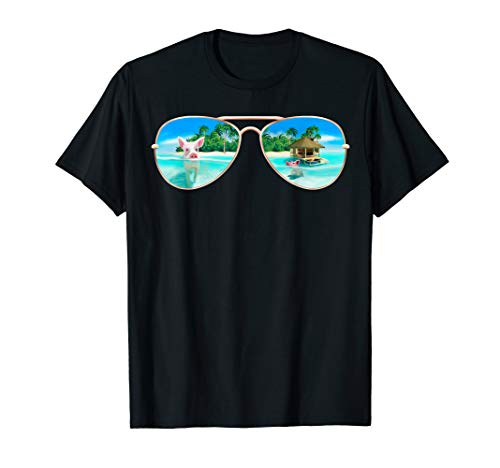 Swimming Bahamas Pigs T-Shirt Summer Vacation Sunglasses ()