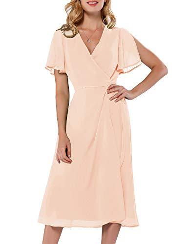 - Azalosie Women Wrap Midi Dress Short Sleeve V Neck Tie Waist Flowy Slit Summer Beach Party Wedding Maxi Dress