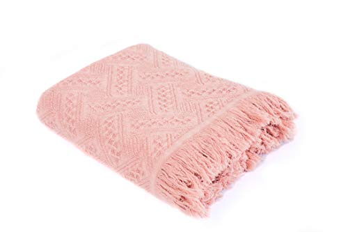 KASENTEX Cozy Soft 100% Cotton Stone-Washed Fall/Winter Decorative Throw Blanket Knitted with Fringes for Couch, Sofa, Bed, wrap-Around - Indoor/Outdoor (Mellow Rose, Knitted Crosshatch Design)