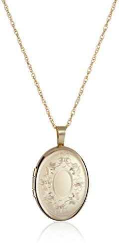 14k Gold Oval Design (14k Gold-Filled with Floral Design and Center Signet Oval Hand Engraved Locket Necklace, 18