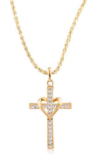 JOTW 10K Yellow Gold Heart & Cross Pendant a 20 Inch 10K Gold Rope Chain Necklace