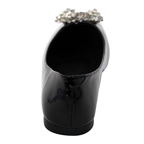 Aalardom Kvinnor Lackläder Mjukt Material Pådrag Kvadrat-toe No-häl Fasta Flats-skor Svart-diamant