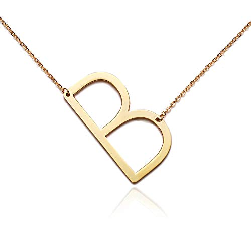 (RINHOO Stainless Steel Gold Initial Alphabet 26 Letters Script Name Pendant Chain Necklace from)