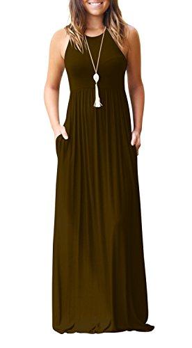 Allentato Casual Vestito Lungo Caffè Maxi Pianura Abbigliamento Rotondo Donne Tasca Con Sleeveless Collo Il 8q0UIcE
