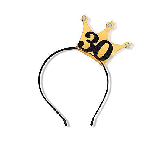30th Birthday Headband - 30 Years Party Tiara 30th Birthday Gifts Birthday Party Accessories (Gold/Glitter Black)