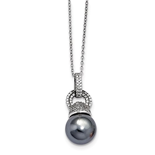 (ICE CARATS 925 Sterling Silver Majestick 13mm Dark Grey Sea Shell Mermaid Nautical Jewelry Pearl Cubic Zirconia Cz Chain Necklace Pendant Charm Fine Jewelry Ideal Gifts For Women Gift Set From Heart)