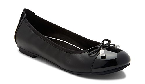 Vionic Women's Spark Minna Ballet Flat - Ladies Cap Toe Walking Flats with Concealed Orthotic Arch Support Black Black 9.5 Medium US