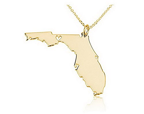 Plated Florida Gold Charm - State Necklace Florida State Charm Necklace 18k Gold Plated State Necklace with a Heart (16 Inches)