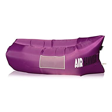 AIR HAMMOCK - Inflatable Lounger Sofa Chair Couch. Inflates in 10 seconds. Convenient Luxurious Hangout. Your Private Little Oasis. For Camping Beach Parks Festivals. FREE Carry Bag & Stake ORDER NOW