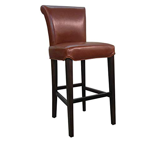 Wood & Style Furniture Bicast Leather Bar Stool Furniture, Cognac Brown Home Bar Pub Café Office - Bar Leather Bicast Stool