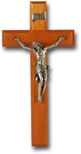 SALE NS (0 10/18) Natural Cherry Cross With Fine Pewter Corpus 11