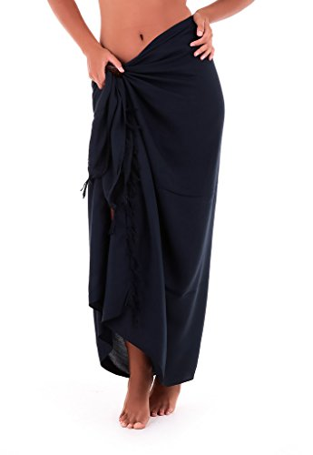 Shu-Shi Womens Beach Cover Up Sarong Swimsuit Cover-Up Many Solids Colors to choose,Navy Blue,One Size