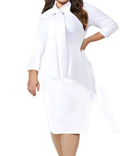 LALAGEN Women's Plus Size Long Sleeve Peplum Tie Neck Bodycon Pencil Midi Dress White XXXL