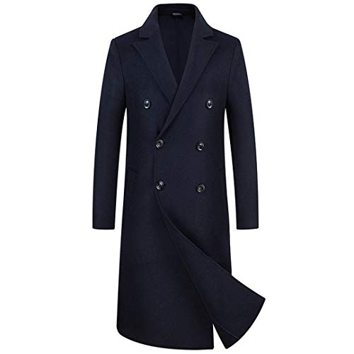 FengYugou Mens Trench Coat Jacket Spring Autumn Overcoats Casual Solid Color Woolen Trench Coat Clothing