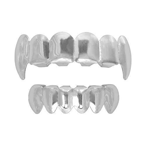 - 24K Plated Gold Grillz Vampire Fangs Caps Top and Bottom Grill Set Mouth Teeth for Son Gift + Extra Molding Bars + Microfiber Cloth