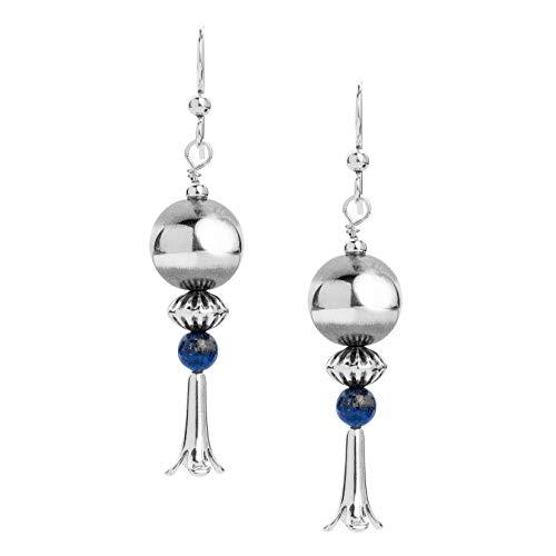 - American West Sterling Silver Blue Lapis Lazuli Gemstone Bead Squash Blossom 2-1/4