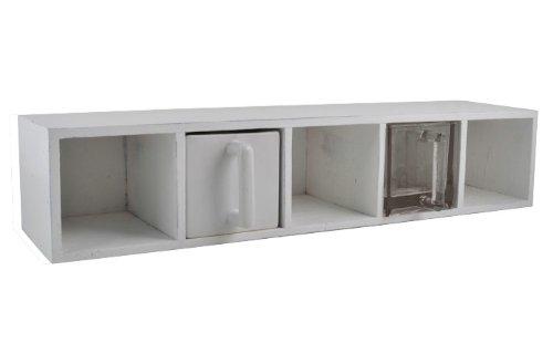 Ib Laursen - Regal mit 5 Glas-Schubladen (Transparent), Wandregal aus Holz in weiss, Maße  L 68cm x H 18cm x T 14cm (Art.-Nr.  5394-11)