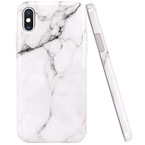 JAHOLAN White Marble Design Clear Bumper Glossy TPU Soft Rubber Silicone Cover Phone Case Compatible with iPhone Xs (2018) / iPhone X (2017)
